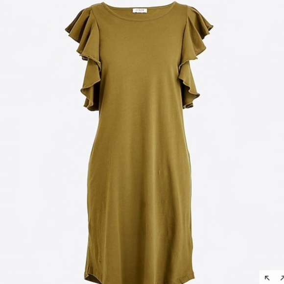 03d1abc36f8 J Crew Ruffle Shoulder Dress Olive Green Small
